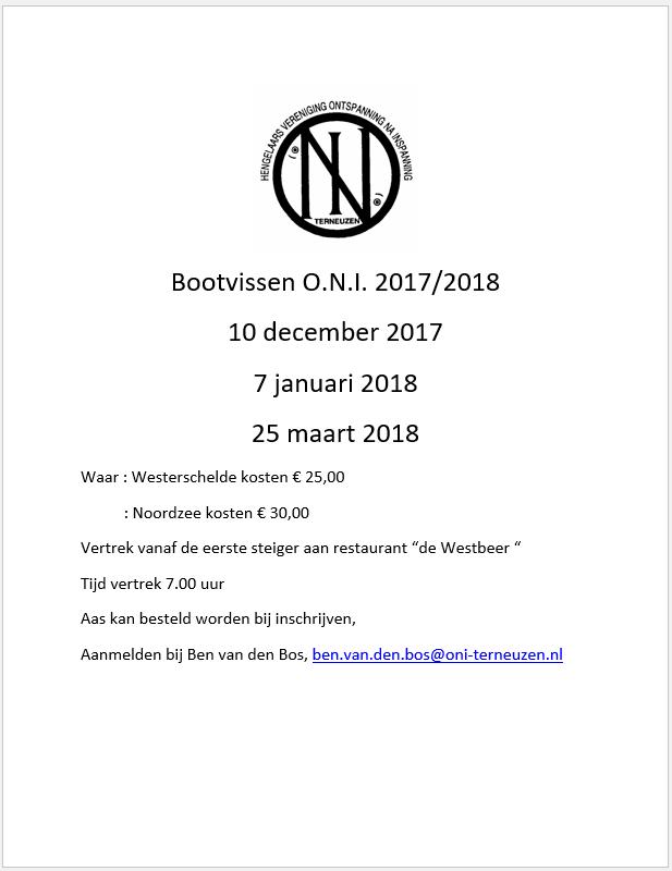 Bootvissen 2017-2018