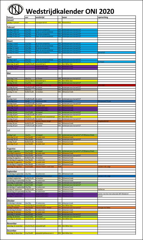 Wedstrijdkalender ONI 2020